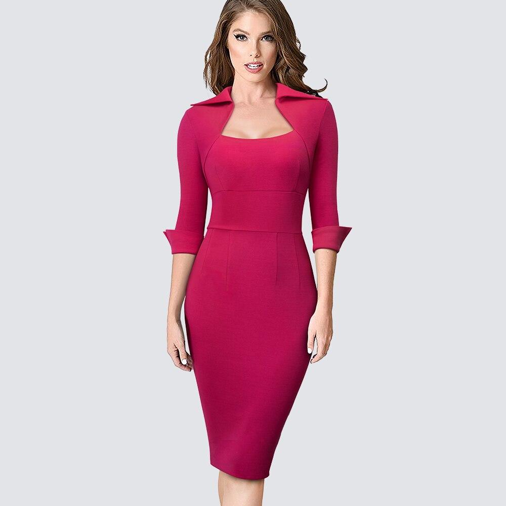 Office Lady Dress Sheath Work Business Bodycon Slim Formal Elegant Professional Women