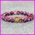 1PCS  Double Gold plated lion heads Charm Bracelet Purple Emperor Jade Agate stone bracelet men/women bracelet bangle jewelry