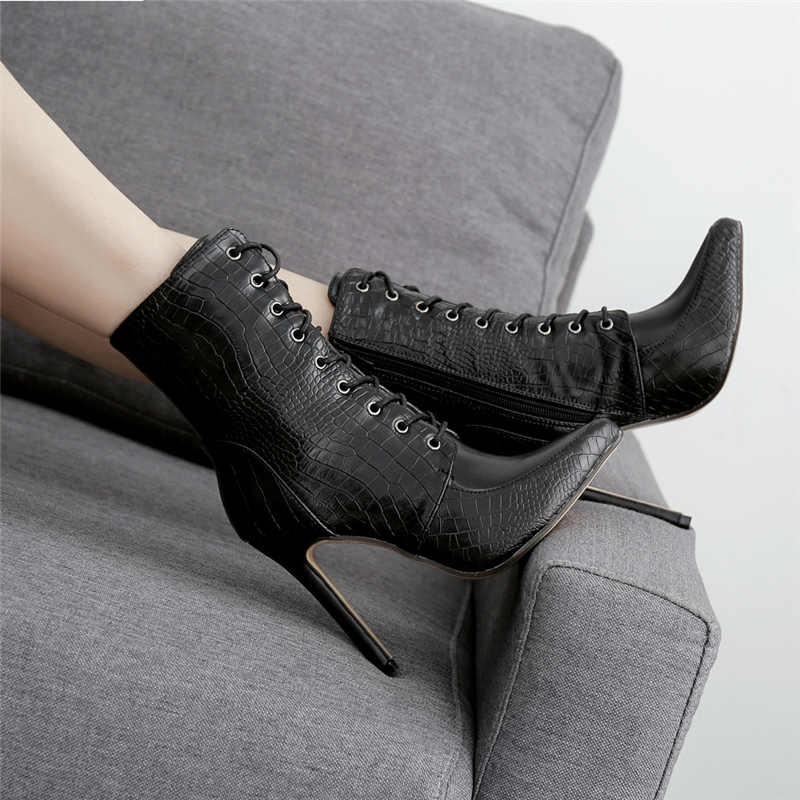 2020 יוקרה נשים 11.5cm גבוהה עקבים פטיש עור חשפנית מגפי מתפתל קרסול מגפי לנשף אביב נחש הדפסת נעליים מחודדות