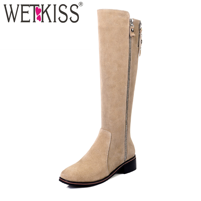WETKISS Natural Leather Suede Autumn Winter Boots Easy Walking Square Heel Knee Boots Brand Zipper Female Shoes Woman 2018 New coloful hollow out sexy low waist strapless neoprene swimsuit women 2016 bandeau bikini set bathing suit brazilian swimwear lc15