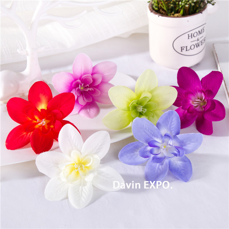 1pc silk orchid fake Flower Head scrapbooking diy Christmas garland cheap artificial flowers for home decor wedding decoration