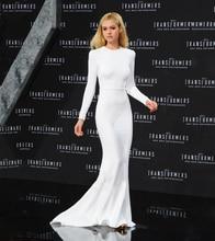 Beyonce Celebrity Kleider Langarmshirt Weiß Open Back Prom Kleid Sexy Weibliche Abendkleid Vestidos de Festa Longo