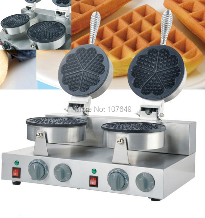 110v 220V Commercial Use Electric Double Heart Waffles Maker Iron Machine Baker double head commercial 110v 220v electric heart