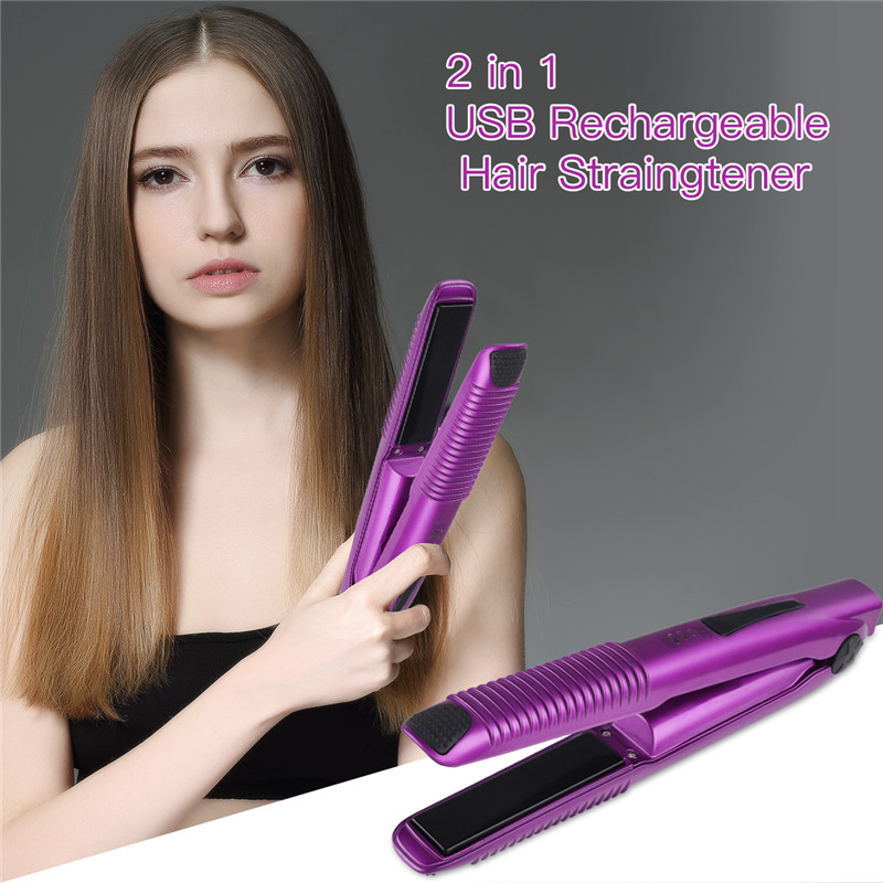 2 In 1 Mini Wireless Hair Straightener Curler USB Rechargeable Hair Straightening Curling Flat Iron Portable Travel Styling Tool2 In 1 Mini Wireless Hair Straightener Curler USB Rechargeable Hair Straightening Curling Flat Iron Portable Travel Styling Tool