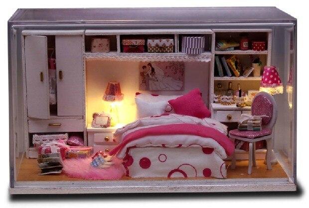 Crystal Box Led Light Dollhouse Room Miniatures Perfect Wedding Kit
