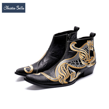 Christia Bella Winter Dragon Embroidery Men Genuine Leather Ankle Boots Pointed Toe Cowboy Boots Plus Size Male Motorcycle Boots