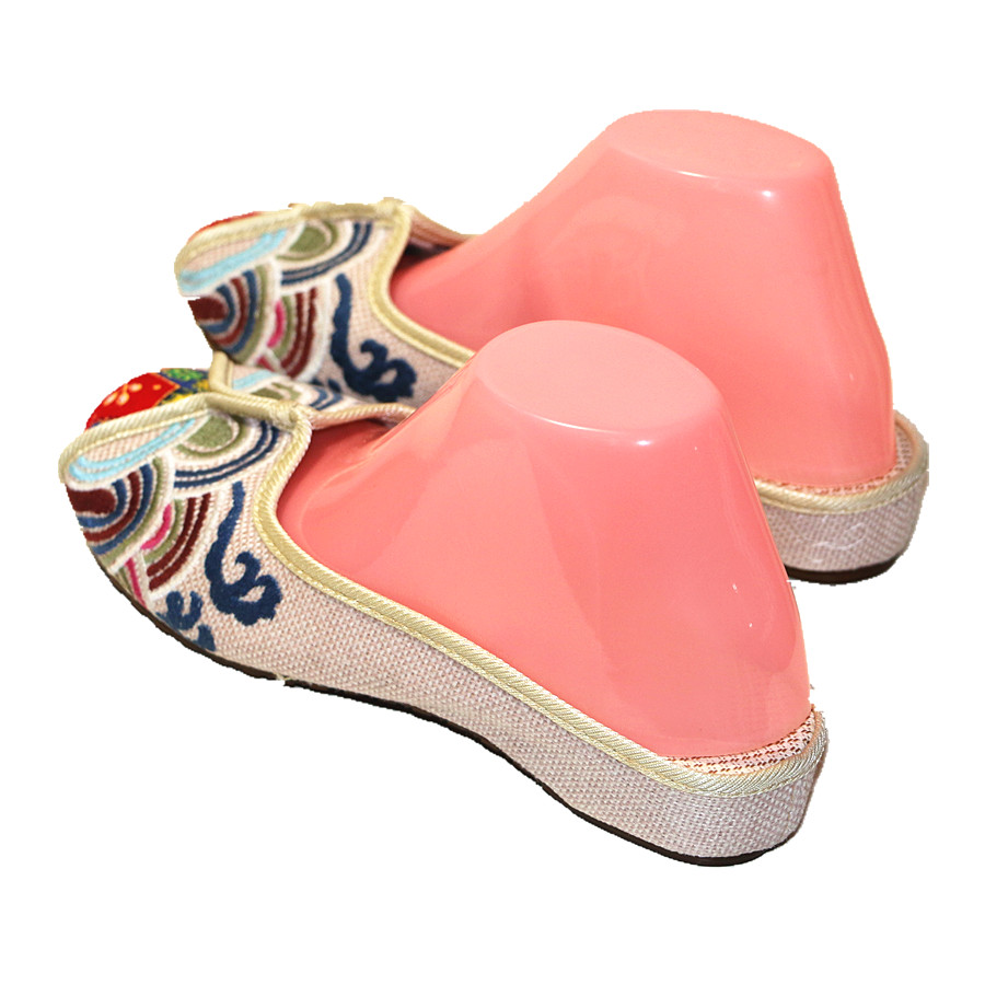 Ethnic Embroidered Women Slippers Ladies Wedges Slides Cotton Fabric Round Toe Canvas Mules Casual Pumps Shoe Propitious Clouds 3