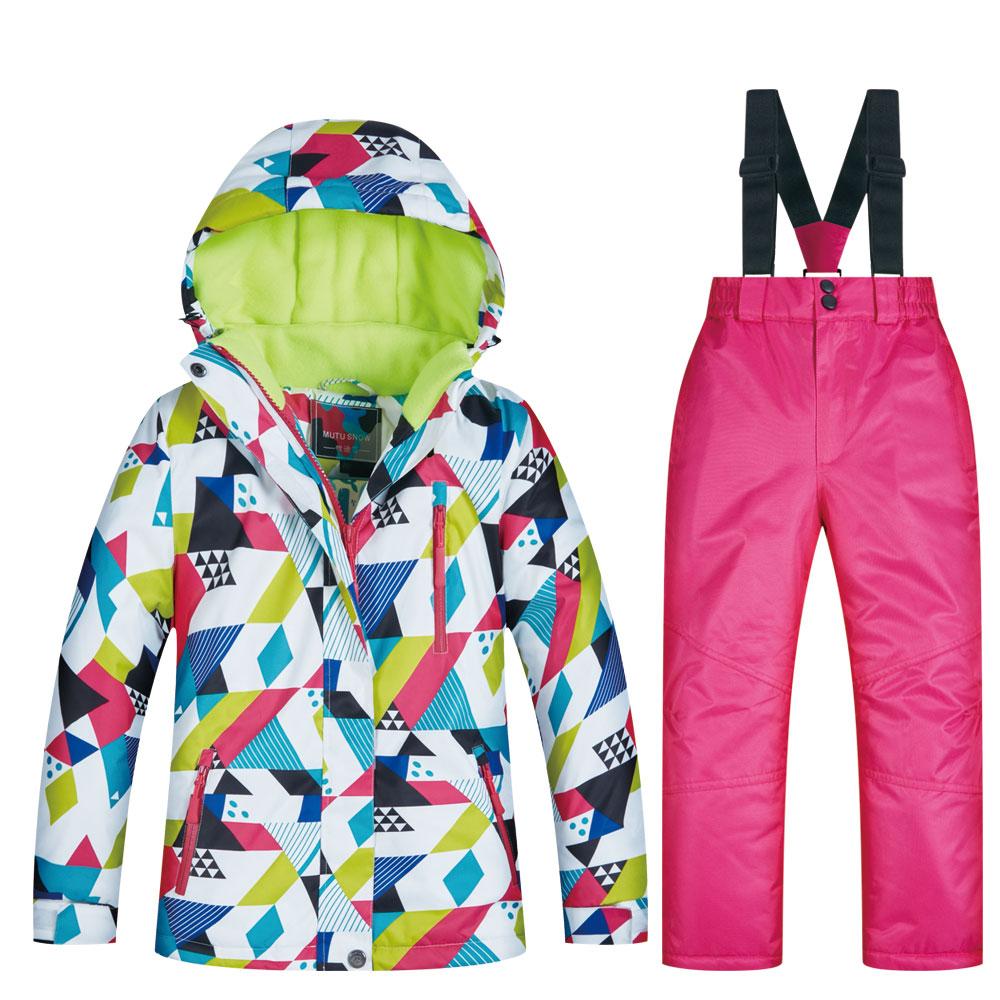 Novas crianças terno de esqui inverno crianças à prova de vento à prova dwindproof água super quente colorido neve jaquetas e calças meninas jaqueta de inverno