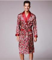 Printemps été automne nouvelle impression de luxe robe de soie mâle peignoir hommes kimono bath robe mens soie robes robes de chambre