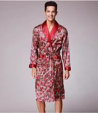 spring summer autumn new luxury print silk robe male bathrobe mens kimono bath gown robes dressing gowns