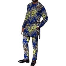 Fesztivál Africa Print Men póló + nadrágos készlet Testreszabott afrikai ruhák Férfi Dashiki hosszú ujjú felső és hosszú nadrág
