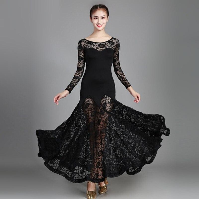 design di qualità ce418 ee527 Giallo delle donne del merletto sala da ballo valzer vestito rumba costumi  standard liscio abiti da ballo Standard vestito sociale frangia danza ...