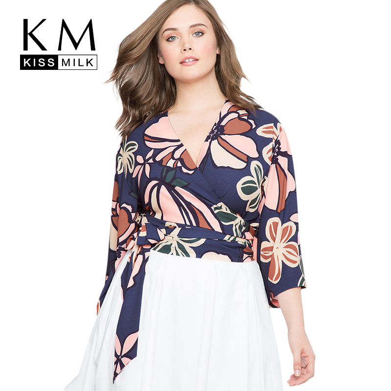 Kissmilk Women Plus Size Ciss Front Floral Print Multi Color Blouse Nine Quarter V Neck Basic Tops Large Size Casual Blouse