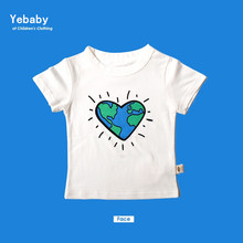 NEW freely consolation beautiful heart-shaped shamp white printed boys t-shirt youngsters clothes