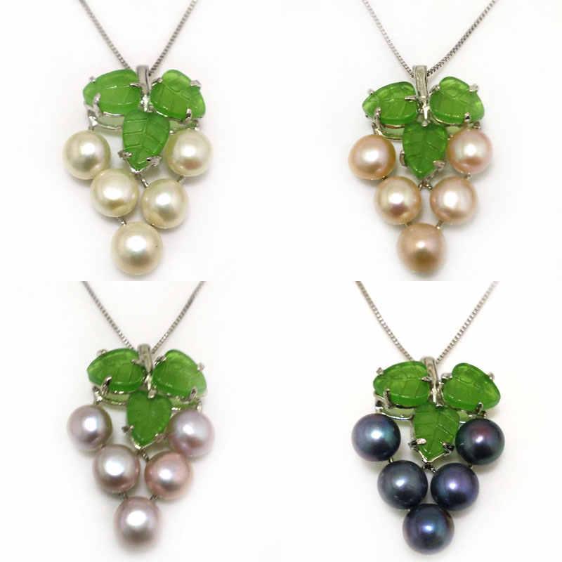 18 дюймов виноград стиль 7-8 мм Натуральная Лаванда Кнопка жемчуг зеленый лист стерлингового серебра 925 Подвеска-ожерелье