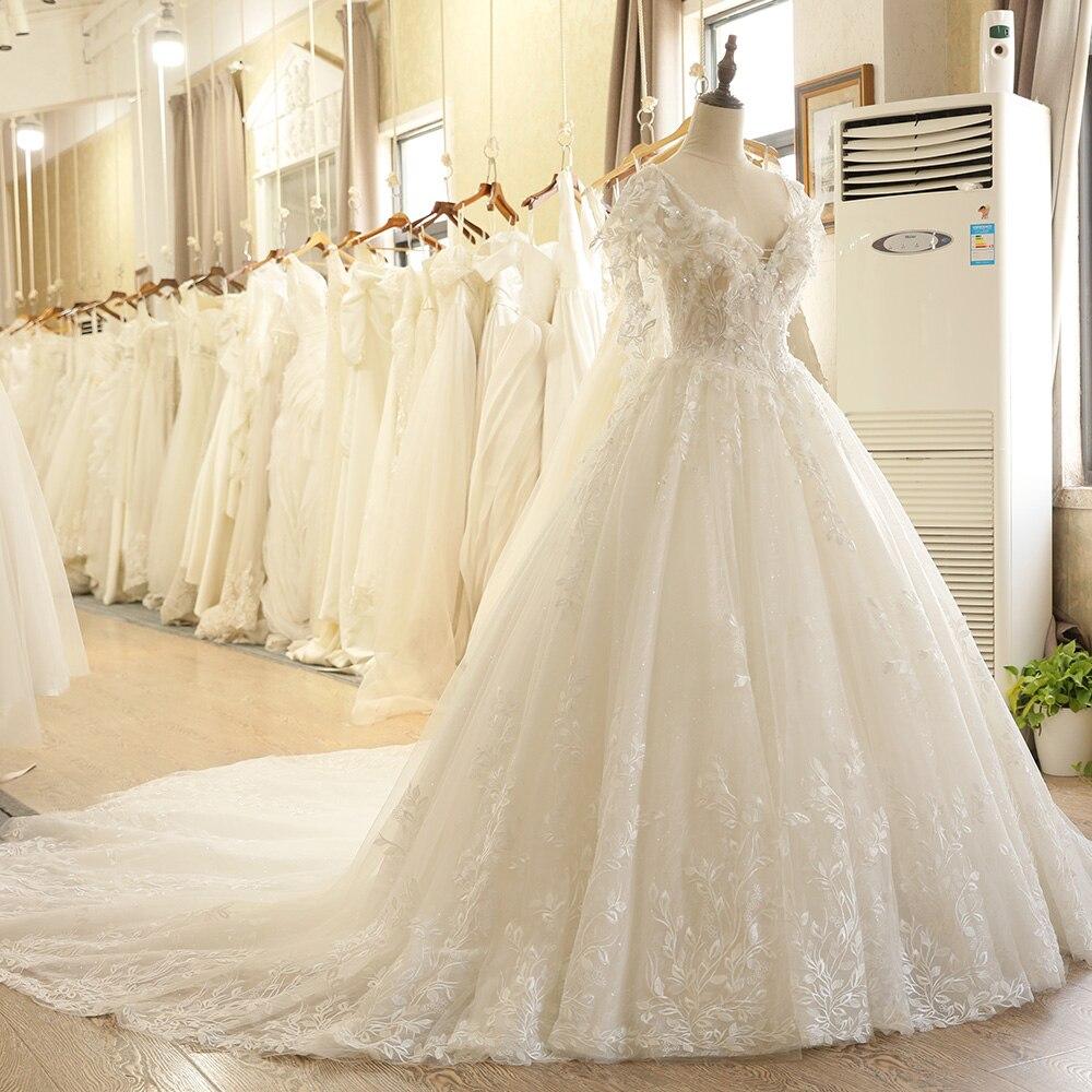 SL-7805 Fall Puffy Sleeve Backless Lace Applique Illusion Body V-Neck - Bröllopsklänningar - Foto 3