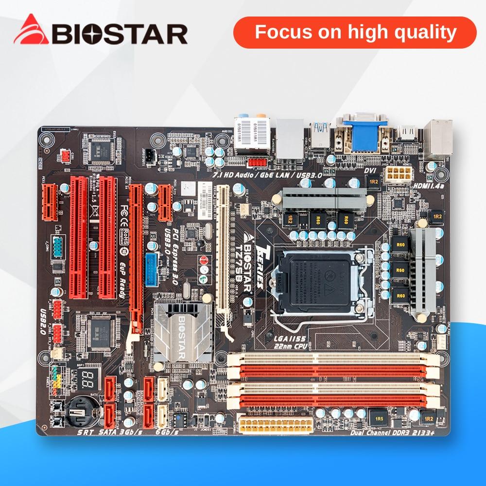 BIOSTAR TZ75B Original Used Desktop Motherboard Z75 LGA 1155 DDR3 32G SATA3 USB3.0 ATX msi original zh77a g43 motherboard ddr3 lga 1155 for i3 i5 i7 cpu 32gb usb3 0 sata3 h77 motherboard