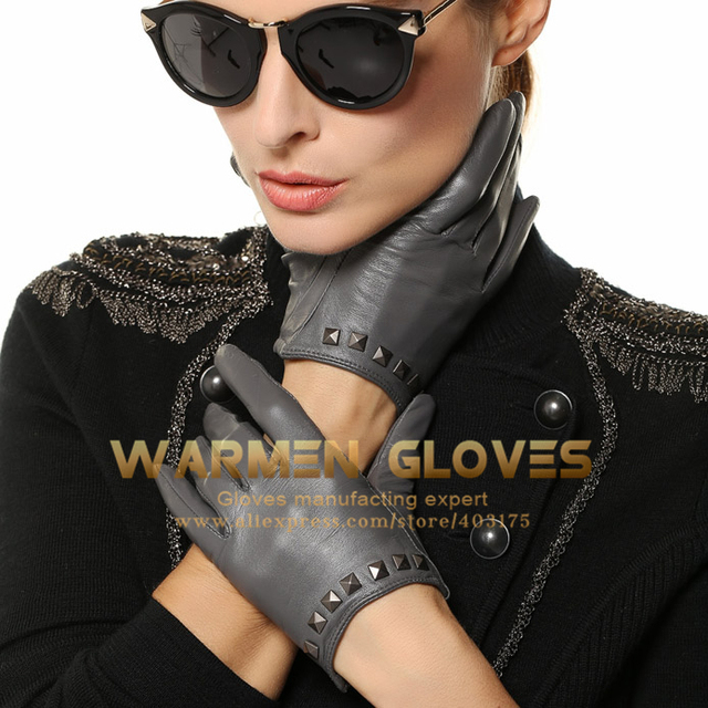 741ccd4df WARMEN Punk Rock Women Genuine Soft Leather Driving Gloves with Rivet 100%  Goatskin Nylon lining 2017 Spring summer performance
