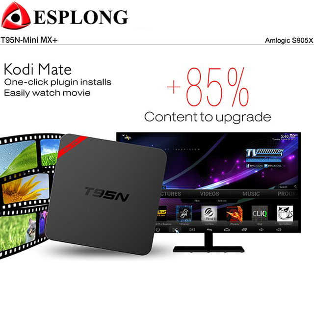 Venta caliente T95N Mini MX + (plus) Android 6.0 TV Box Kodi S905X Quad Core 1 GB 8 GB Wifi 16.1 caja IPTV Inteligente 4 K UHD Reproductor de medios