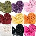 Mujeres multicolores bufandas largas grande de lana caliente mezclas suave bufanda del abrigo del mantón de las borlas