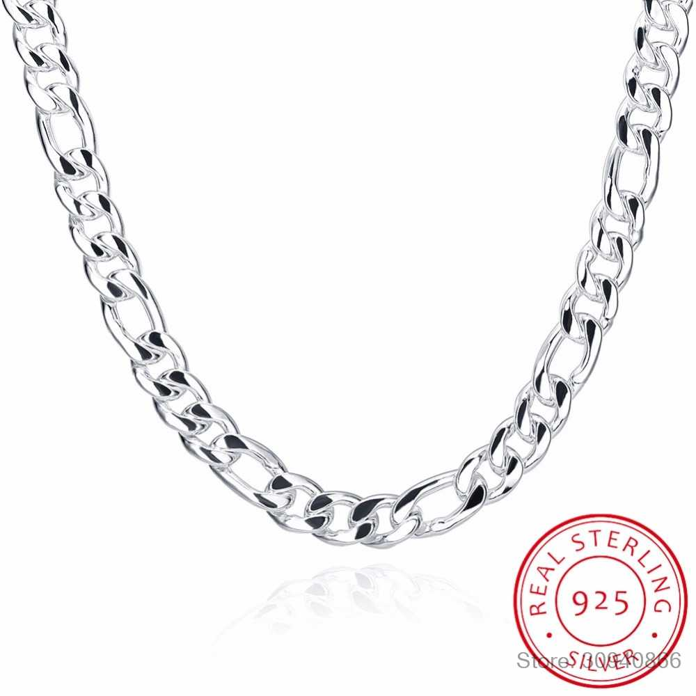 "24"" Pure Real 925 Sterling Silver Figaro Chains Necklaces Women Men Jewelry Boy Friend Gift 60cm 10mm Colier Wholesale"