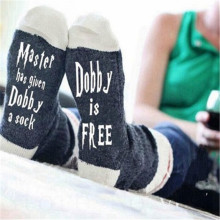 1 Pair Master Has Given Dobby a Socks Summer Spring Style of Women Funny Unisex for Cotton Casual Cotton Letters Socks Man Meias