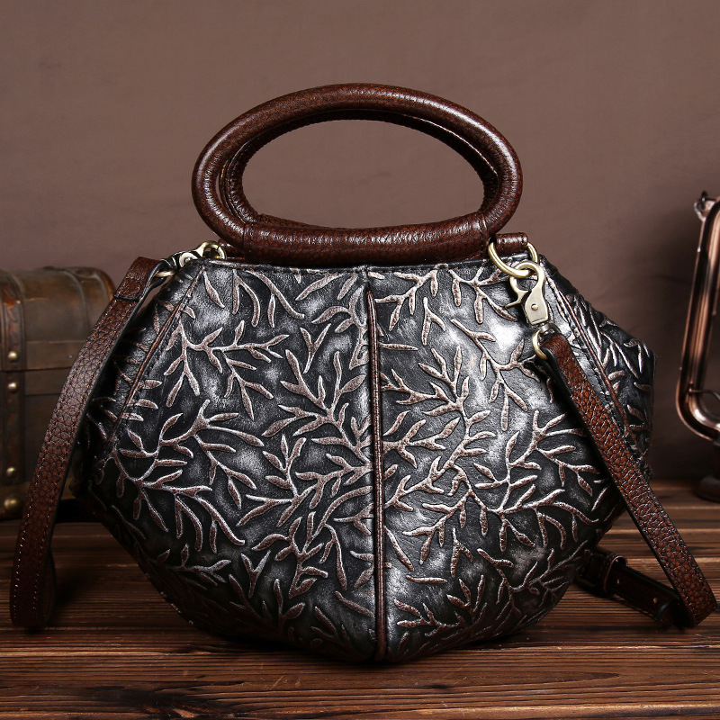 YISHEN Casual Floral Embossed Women Handbags Top-handle Bags Genuine Leather Women Shoulder Bags Fashion Messenger Bags LS9505 2018 new fashion top handle bags women cowhide genuine leather handbags casual bucket bags women bags rivet shoulder bags 836