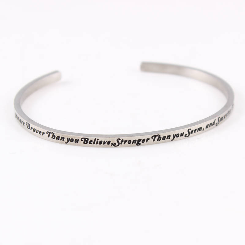 2017 Trending Products Engraved Mantra Bracelets 316L Stainless Steel Personalized new Bracelet Wholesale