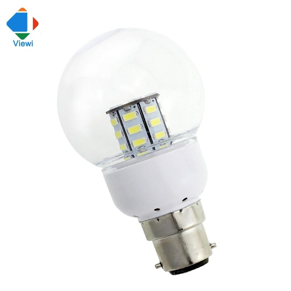 5x led light bulbs 12 volt 24 v b22 e14 transparent shell smd 27 leds corn globe bulb 9v to 30v high quality lampada lights