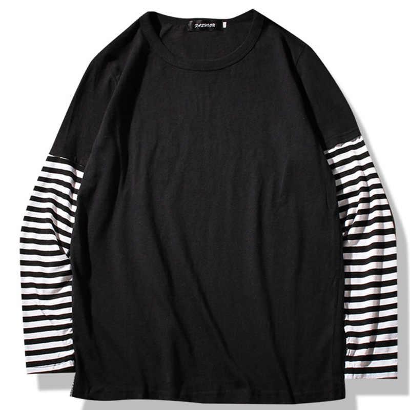 Весенне-Осенние футболки с длинными рукавами для мужчин, с круглым вырезом, в полоску, в стиле пэчворк, Длинные футболки для мужчин, модная повседневная Уличная Мужская футболка
