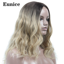 Long Body Wave Heat Resistant Hair Synthetic Lace Front Wig 22Inch Middle Part Glueless Wigs For Black Women Ombre Brown Eunice
