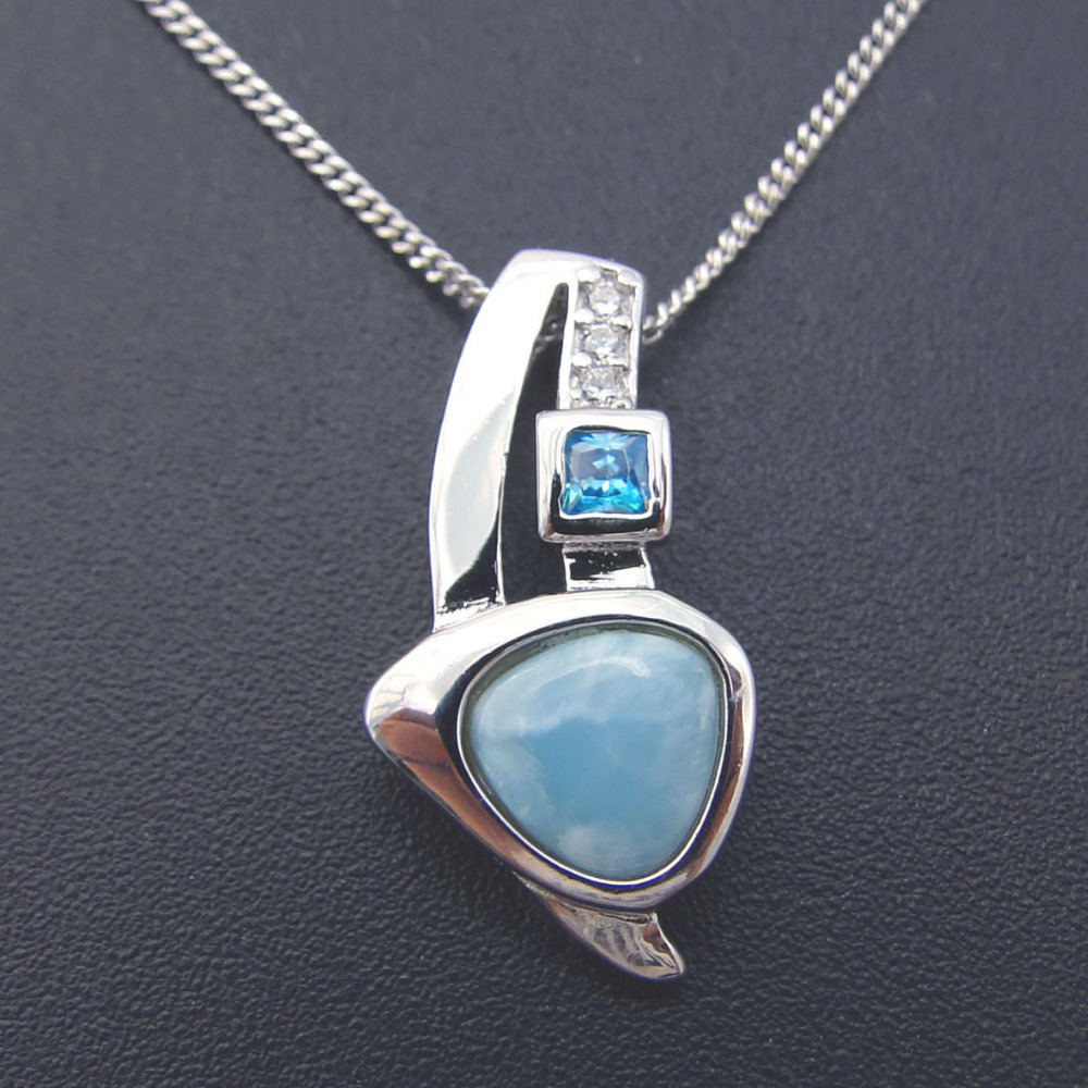 Natural Larimar Jewelry Women Pendant Crystal Pendant 100% 925 Sterling Silver Gemstone Pendant Without Chain