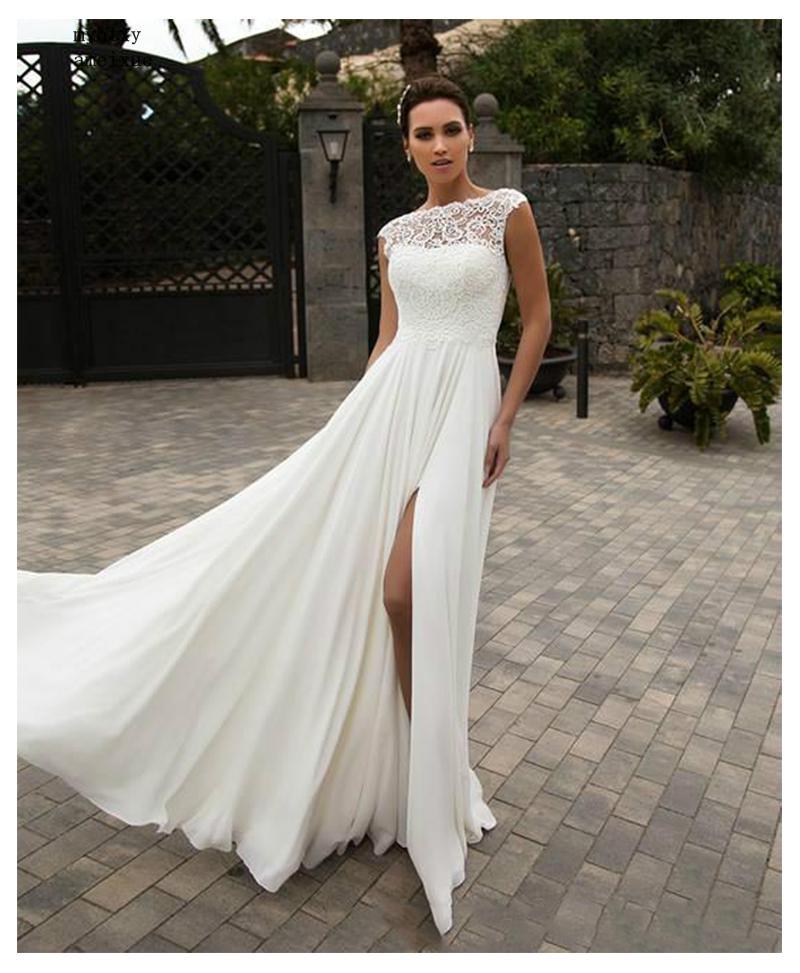 Us 79 0 50 Off Cheap Boho Wedding Dress 2019 A Line Appliques Chiffon Bride Dress Custom Made High Split Wedding Gown Free Shipping Bride In Wedding