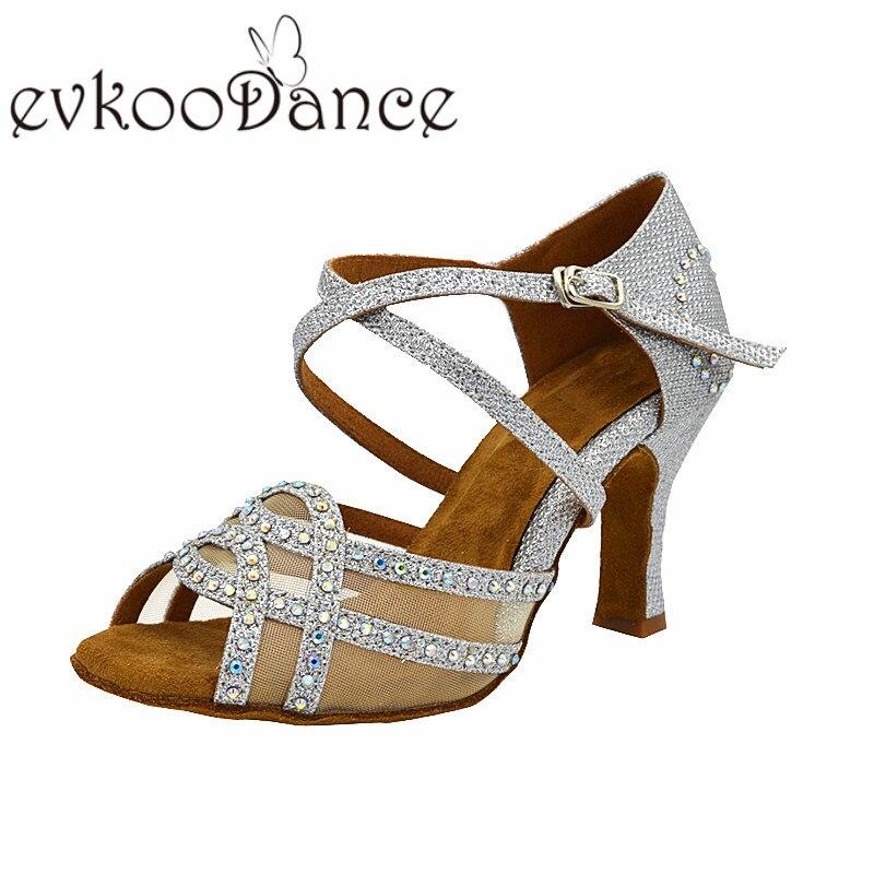 Evkoodance Silver Black Red Glitter Rhinestones Size US4-12 Latin Ballroom 8cm heel Women Latin Dance shoes with Strass NL179 цена