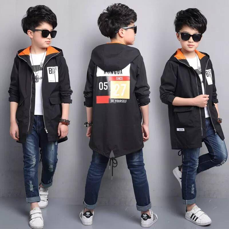 2018 new children's clothing spring boy jacket children's windbreaker in the long section of the big boy Korean shirt boy spring kimocat boy and girl high quality spring autumn children s cowboy suit version of the big boy cherry embroidery jeans two suits