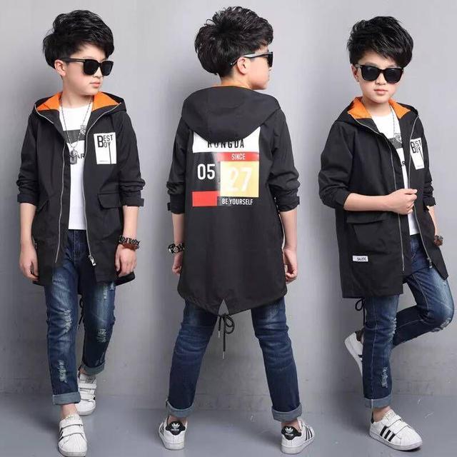 Новинка 2018 года, детская одежда, весенняя куртка для мальчиков, детская ветровка, длинная Корейская рубашка для мальчиков, весенняя одежда для мальчиков
