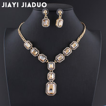 jiayijiaduo Bridal Wedding Party Jewelry parure bijoux femme gift jewellery sets for women Gold color yellow crystal necklace(China)