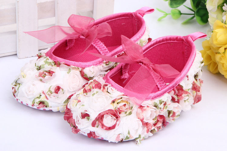 BX35 Lace Bow New Lovely Cute 3D Rose Shoes Prewalkers Footwear Baby Infant Toddler Girls Shoes