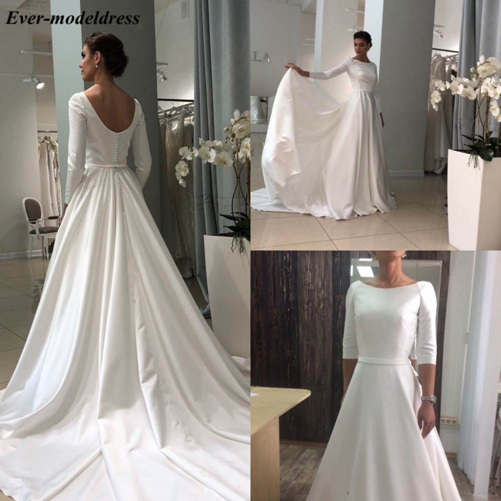 2020 Simple Satin Wedding Dress Long Sleeves Button Back Sweep Train Elegant Bridal Gowns Plus Size Vestido De Noiva Cheap