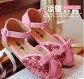Мода блестка дизайн принцесса обувь девочек летняя обувь детей сандалии девушки сандалии милый бантом блесток сандалии