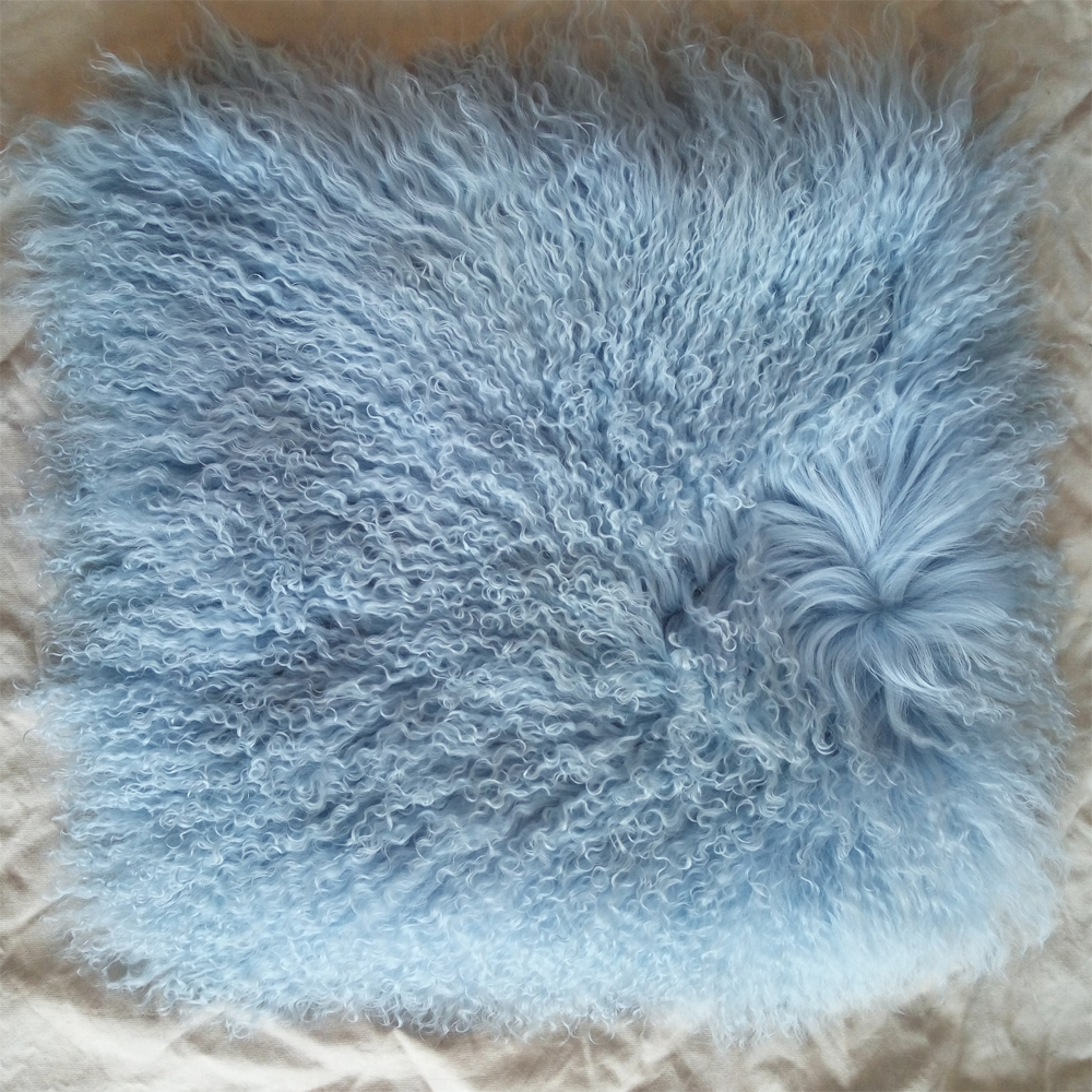 real mongoian fur pillow cover vintage fur cushion cover for sofa light blue decorative pillows chair - Blue Decorative Pillows