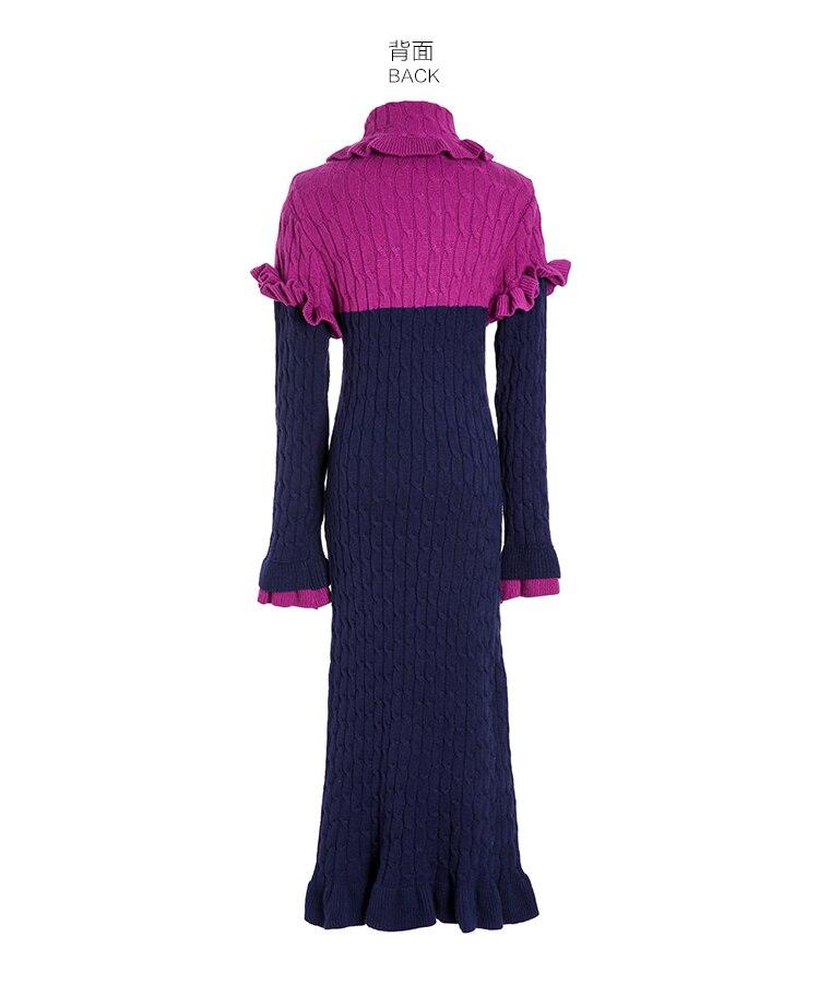 Femmes Roulé Longues Chandail Volants Vêtements 2017 Évasée Tricoté Col Moulante À Midi Fuchsia D'hiver Mode Robes Manches Robe vm8nN0w