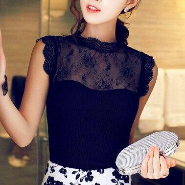 Summer New  Ladies Vestidos Vintage Lace Chiffon Blouses Shirts Women Stand Collar Sleeveless Casual Blusas 6