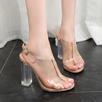 2017 Womens Summer Shoes European And American Jelly Shoes Sexy Sandals Toe Crystal Heels With Thick
