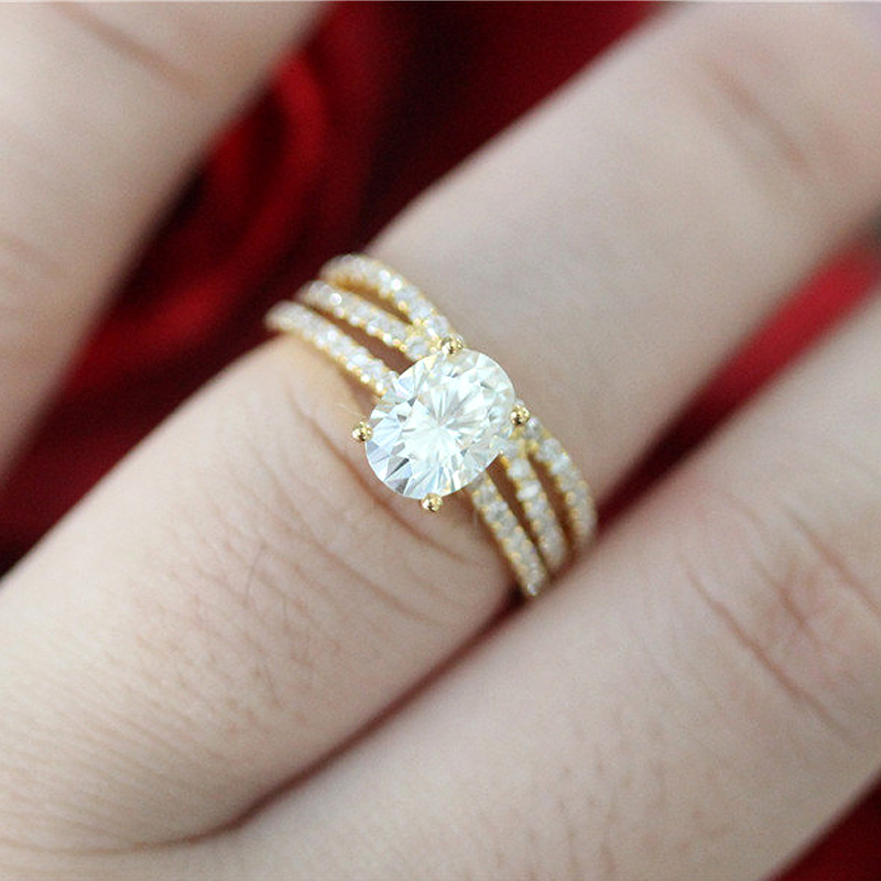 14K or jaune ensemble de bagues 2ct Carat ovale taille brillant Moissanite bague de fiançailles et alliance pour les femmes - 4