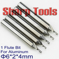 Single Flute Solid Carbide End Mills Milling Cutter Aluminum Tools New CNC Endmill Router Bits for Aluminium Cutting 6*2.0*4MM