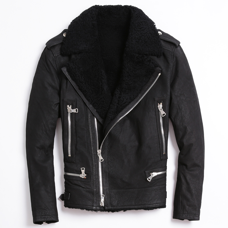 2017 Men Black Genuine Sheepskin Fur Diagonal Zipper Leather Jacket Real Thick Shearling Winter Short Warm Coat FREE SHIPPING