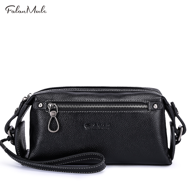 FALAN MULE Genuine Leather Men Wallet Luxury Fashion Male Clutch Wallets Large Capacity Handy Bag Leather Man's Purse (Black)