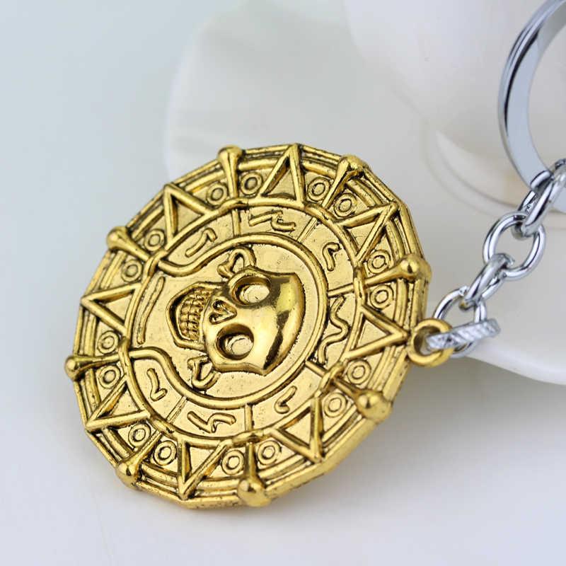 2 цвета Пираты Карибы брелок ацтекская монета череп кулон брелок ювелирные изделия для мужчин или фанатов аксессуары для автомобильных ключей