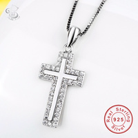 Cross Necklace For Women Jewelry Genuine 925 Sterling Silver Rhodium Plated Religious Christian Cross Pendant 2018 New Trendy